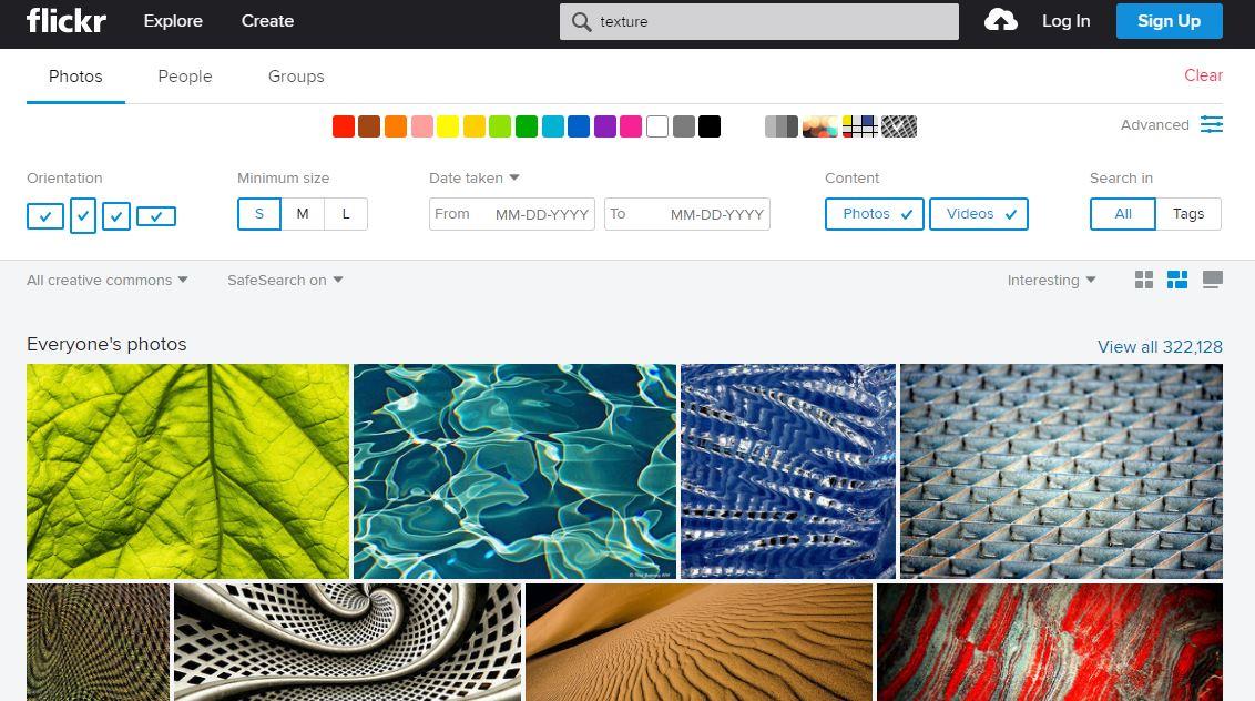 Masque de recherche de photos gratuites sur Flickr
