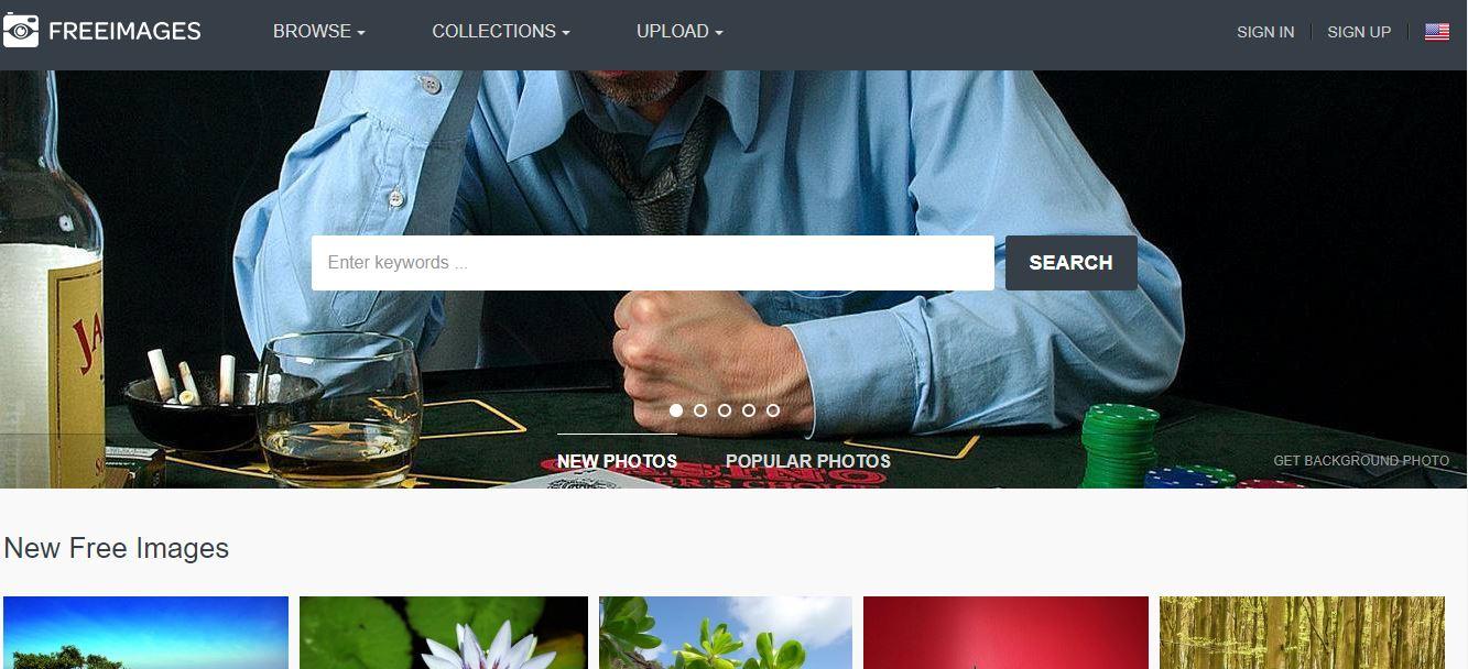 Page d'accueil du site de photos gratuites Freeimages