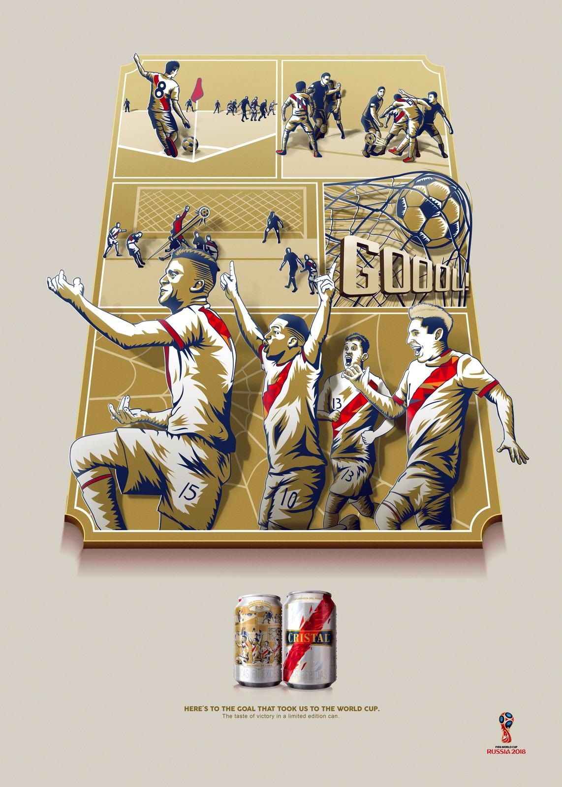 Print advertisement created by Y&R, Peru for Cristal